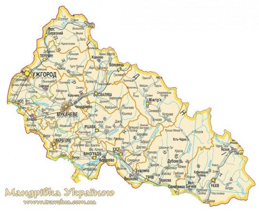 Карта Закарпаття